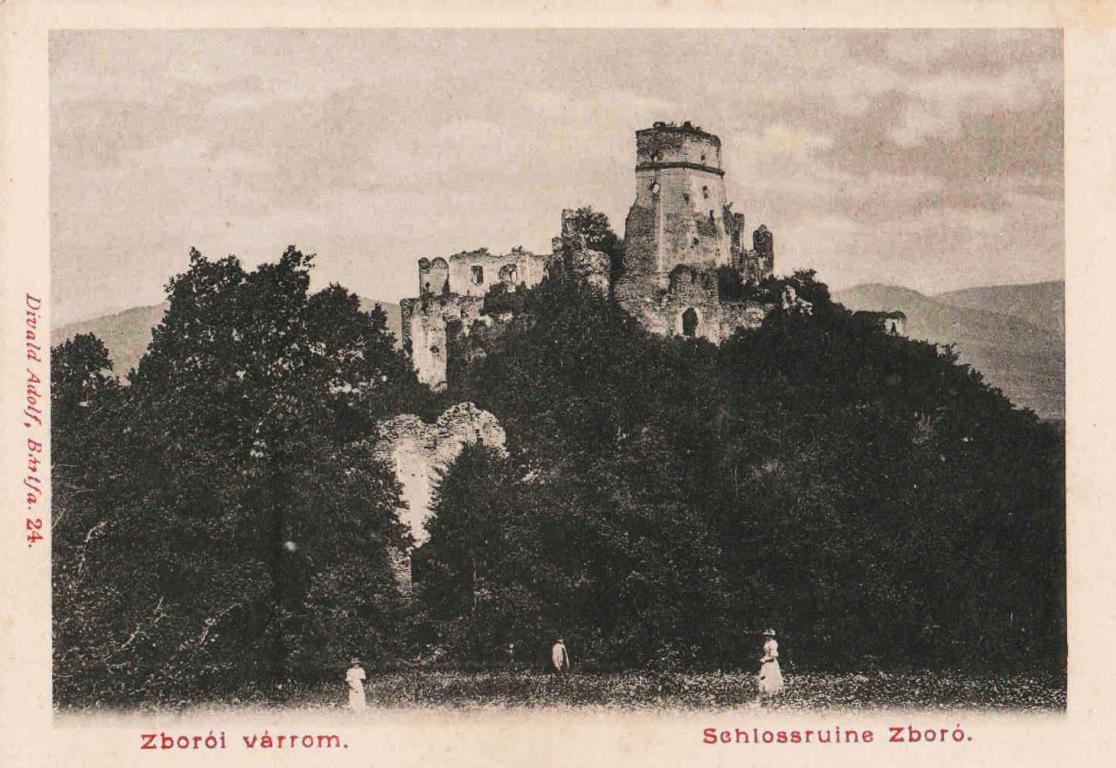 Zborovský hrad na historickej pohľadnici