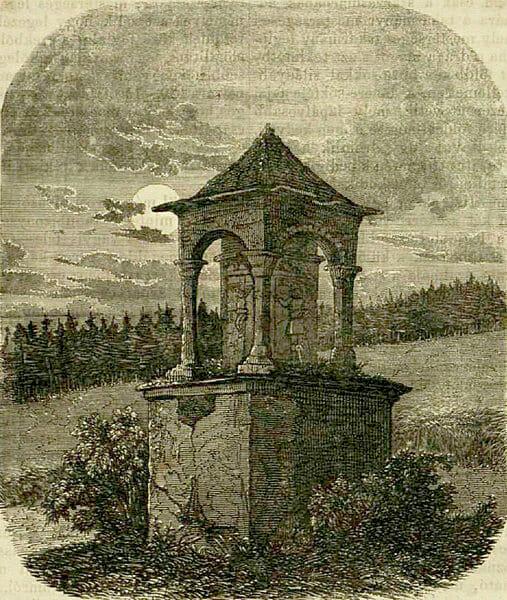 Pomník Gašpara Seredyho zachytený na historickej kresbe