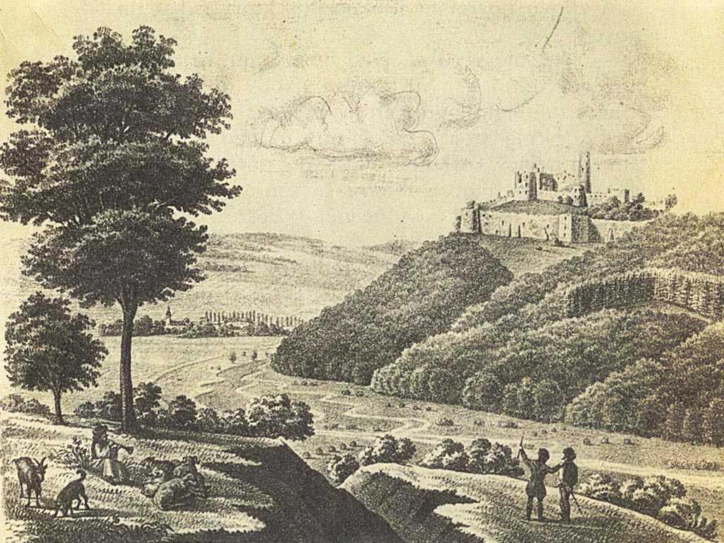 Dobová kresba hradu Zborov