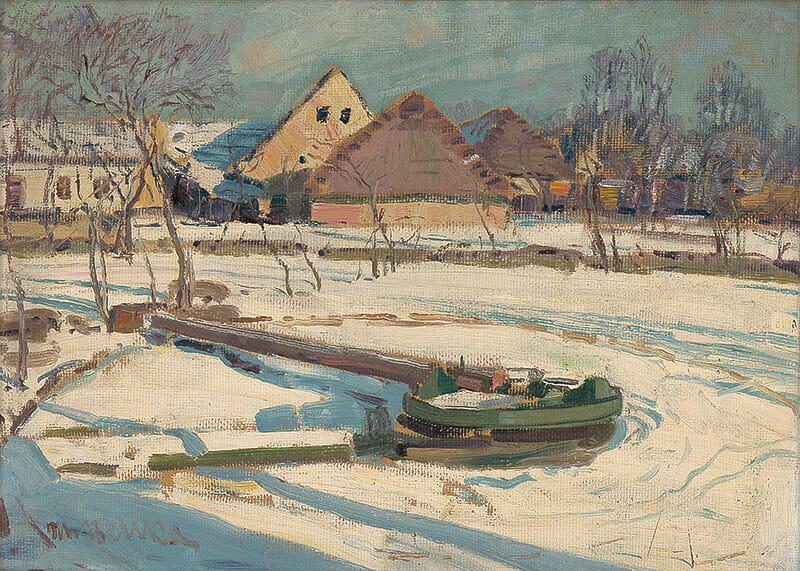 Olejomaľba na plátne, Zima na dedine, 1912