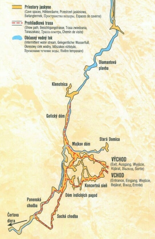 Mapa prehliadky jaskyne Domica