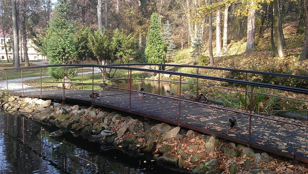 Kúpeľný park v Sklených Tepliciach – jazierko