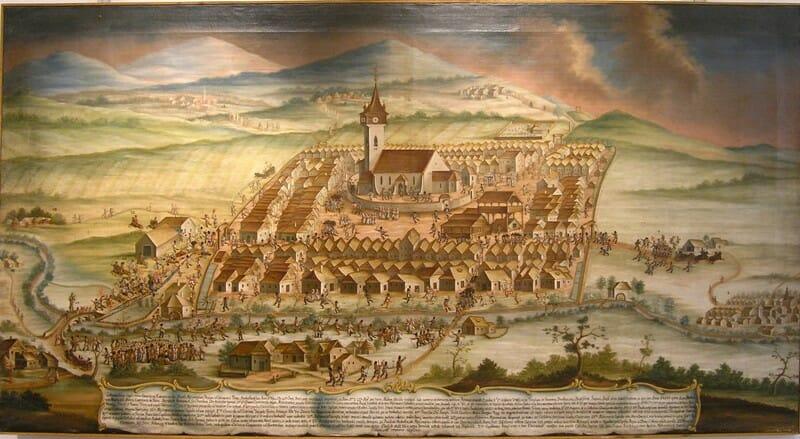 Veduta Rimavskej Soboty / Náboženské nepokoje v Rimavskej Sobote z roku 1769
