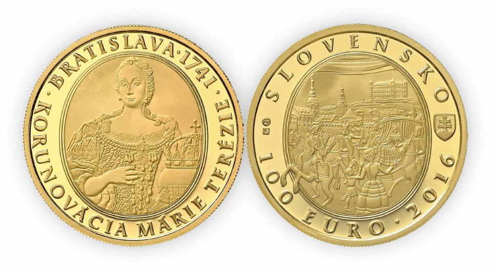 Ukážka zlatej zberateľskej mince - 275. výročie korunovácie Márie Terézie