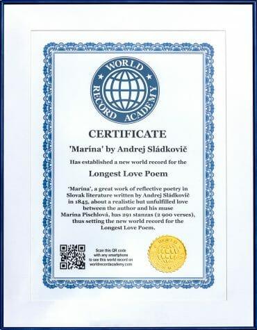 Certifikát o zápise básne Marína do svetovej knihy rekordov
