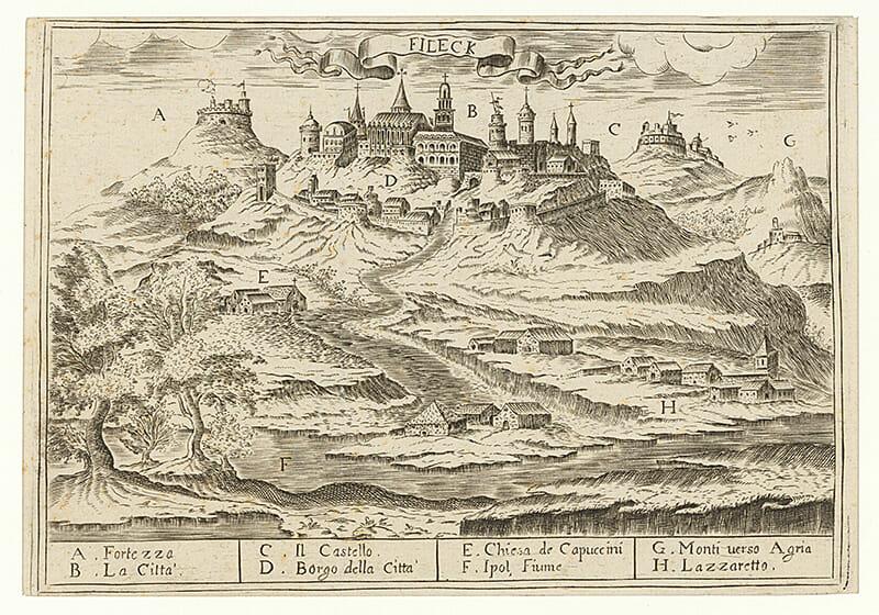 Neznámy autor, Fiľakovo, rytina, 17. storočie, OGD