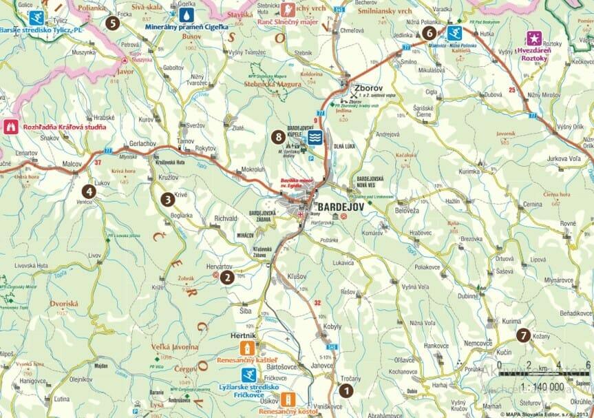 Mapa drevených kostolov v okolí Bardejova