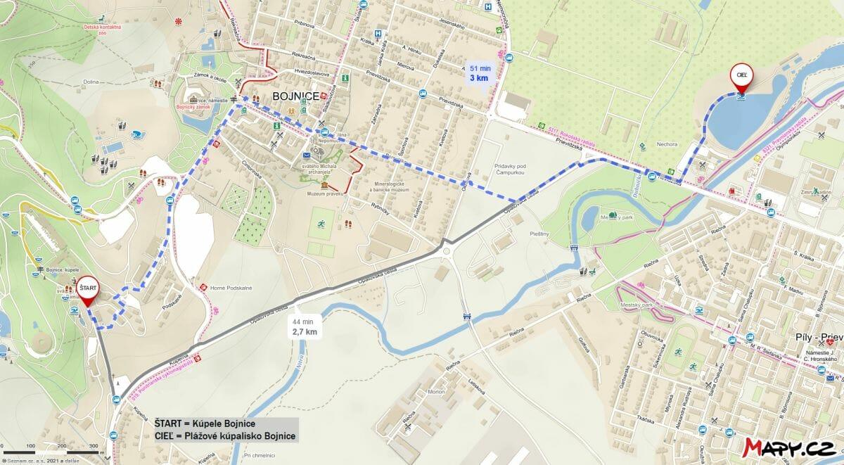 Mapa trasy z bojnických kúpeľov k Plážovému kúpalisku Bojnice