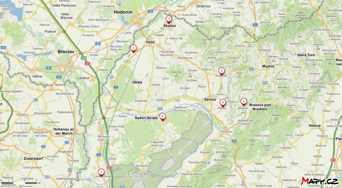 Mapa vysunutých expozícií Záhorského muzea