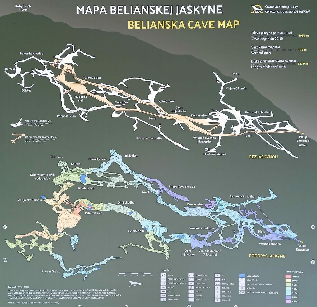 Mapa Belianskej jaskyne